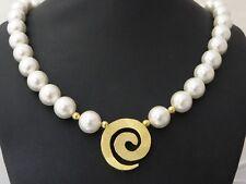 Halskette Collier Perlen weiß Damen 925 Silber Gold Anhänger Muschelkernperlen