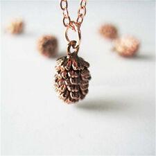1 Pcs Small Pine Cone Vintage Alloy Chain Simple Design Charm Pendant Necklace