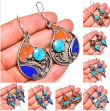 Turquoise Coral Lapis Gemstone Earrings, Tibetan Silver Women Jewelry Gift TE04