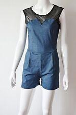 CAD26 - Combinaison Short Uni Effet Denim avec Empiècement Gaze - Mode Femme