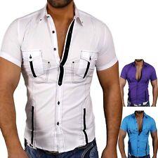 be941a1582c0 Kickdown Herren Kurzarm Kontrast Hemd Poloshirt T-Shirt KD-7215 Weiß Blau  Lila