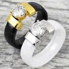 6mm Hi-Tech Ceramic 0.85 Carat CZ Engagement Ring Black or White
