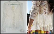 Lace Classic Boho Jacket Kimono Top CoverUp Frill Pleat Button Crochet Cardigan