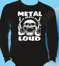 Heavy Metal T-Shirt Rock Hard Metal Long Sleeve Unique Loud Music Skullshead Gig