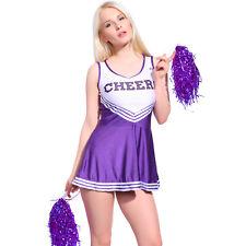 School Girl Cheerleader Fancy Dress Musical Glee Purple Uniform w/ 2 Pompoms Pro