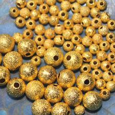 10 PERLES MÉTAL - granitées stardust - 2 tailles - 3 et 6 MM - DORE