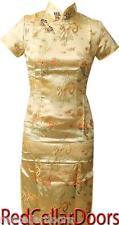 New Womens Chinese Dress Cheongsam Champagne Gold Dragons Sz 32 34 36 38 40 42