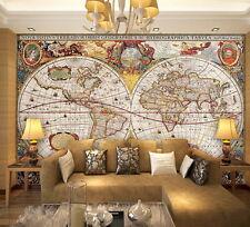 Vintage HD World Map Wallpaper Wall Decals Wall Art Print Mural Home