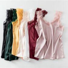Women Lace Satin Vest Camisole Tank Tops Chemise Faux Silk Sleeveless Shirt