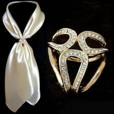 Women's Scarf Buckle Ring Clip-Holder-Crystal Flower Brooch Scarves Silk Je K0W0