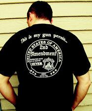 This is my GUN PERMIT 2nd Amendment tshirt BACK White Black tee shirt mens mens