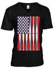 Baseball Flag Bats Red White Blue Stars Stripes Americana Mens V-neck T-shirt