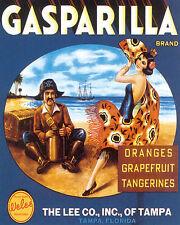 POSTER GASPARILLA SPANISH PIRATE DANCER FLORIDA FRUITS VINTAGE REPRO FREE S/H