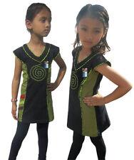 bambini maglia scollo a V COTONE ragazze RICAMO NERO VERDE ESTATE Hippie Boho