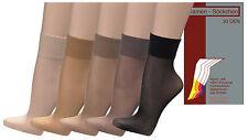 6 Paar Feinsöckchen Feinstrümpfe Damen Socken 30den Nylon Komfortbund breit