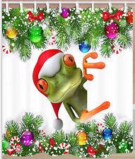 "Merry Christmas Funny Frog Bathroom Shower Curtain Waterproof Fabric & Hooks 71"""