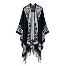 Luxury Celeb Cashmere Like Poncho Blanket Wrap Shawl Cape Poncho Stylish Leopard
