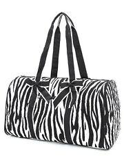 Belvah quilted black & white zebra print duffel bag black pink purple BS1100 gym