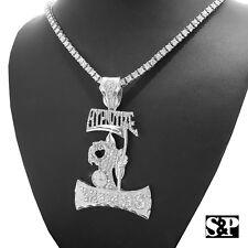 "1 Row Diamond Tennis Choker Chain Necklace Hip Hop Hypnotize Mind pendant & 18"""