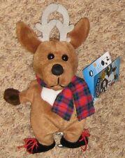 "Plush Brown 9"" Deer Character Toy wearing Ice Skates"