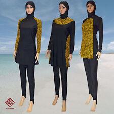 Couverture complète Alhamra modeste Burkini Musulman Islamique Burkini maillots de bain Noir / Or Nouveau