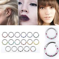 1-4PC 16G Striped Gems Steel Segment Ring Earring Helix Septum Nose Hoop 8-10mm