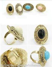 LOng Vintage Retro Burn Bronze Oval Gem Adjustable Ring White/Black/Blue/Pink
