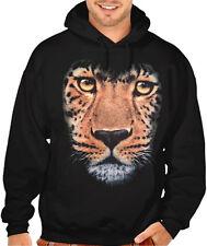 Men's Huge Leopard Face Black Hoodie Wild Zoo Animal Kingdom Beast Print Sweater