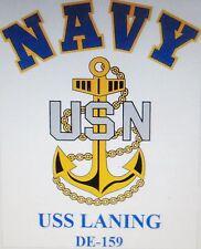 USS LANING DE-159* FRIGATES & ESCORTS U.S NAVY W/ ANCHOR* SHIRT