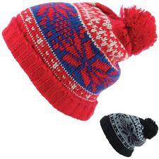 Beanie Hat Fairisle Chunky Black Red Bobble New Mens Womens Ribbed Ski Snowboard