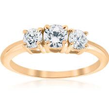 1ct 3 Stone Diamond Engagement Round Cut Ring 10k Yellow Gold