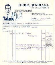 Gebr. Michael Köln am Rhein histor. Textil Rechnung 1932 Talex Kragen Rheinland