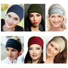 Men Women Elastic Sports Headband Wide Yoga Head Wrap Hair Band Wristband Turban