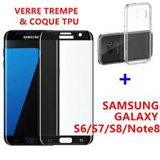 Film Protection Vitre VERRE Trempé 3D Samsung Note8 S8 S9 S6/S7/Edge + Coque TPU