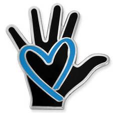 PinMart's Human Traffic Awareness Blue Heart & Hand Enamel Lapel Pin
