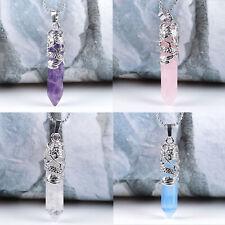 Gemstone Hexagonal Quartz Crystal Healing Point Pendant Fit Necklace US