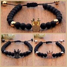 Noble Mens 24kt Cubic Zircon Imperial Crown Bead Bracelet Bead Macrame Bracelets