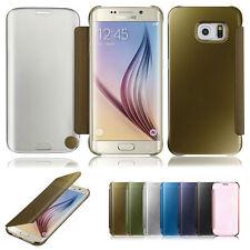 NUOVO Specchio Smart View Clear Cover Custodia Flip per Samsung Galaxy s6 s7 bordo dello schermo