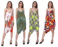 Womens Strappy Printed Lagen Look Romper Playsuit Ladies Harem Baggy Jumpsuit