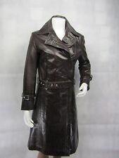 Brown SMALTO leather slim stretto aderente lungo Biker Fashions Giacca bici