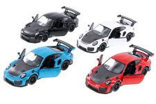 "KINSMART Porsche 911 GT2 RS 1:36 Scale Diecast Model Car Blue/Red/Black/White 5"""