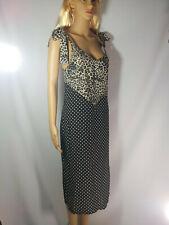 Ladies Women Leopard & Spot Spliced Midi Dress Black Size 8 BNWT RRP £22.00