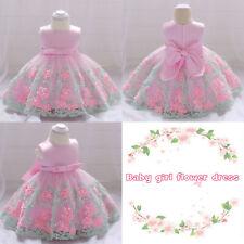 Girls Flower Lace Sleeveless Princess Bowknot Party Bridesmaid Wedding Dress UK