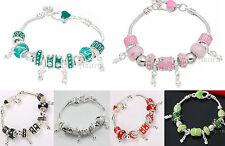 NEW Enamel Rhinestone Sparkle Dangle Charm European Style Silver Plated Bracelet
