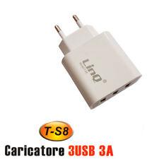 CARICATORE ALIMENTATORE SPINA A 3 PORTE USB 3A T-S8 PER HUAWEI SAMSUNG LG ECC