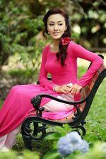 AO DAI Vietnam CUSTOM MADE, Chiffon & Satin, Pink & White, Code 20.8.01