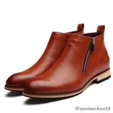 Mens Casual Chukka con zip oxford rosso scarpe con stivali in pelle pura