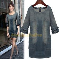 Zara VintageBlue Washed Denim Jean Falbala Cuff Dress, 80%Cotton, 20%Elasten Min