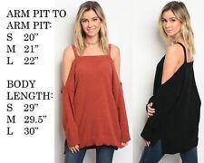 Oversize Women Off Shoulder Long Sleeve Knit Sweater Tops Pullover Outwear US
