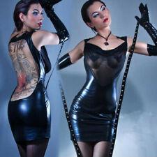 Sexy Black Vinyl Mesh Backless Dress Exotic Fetish Lingerie Chemise